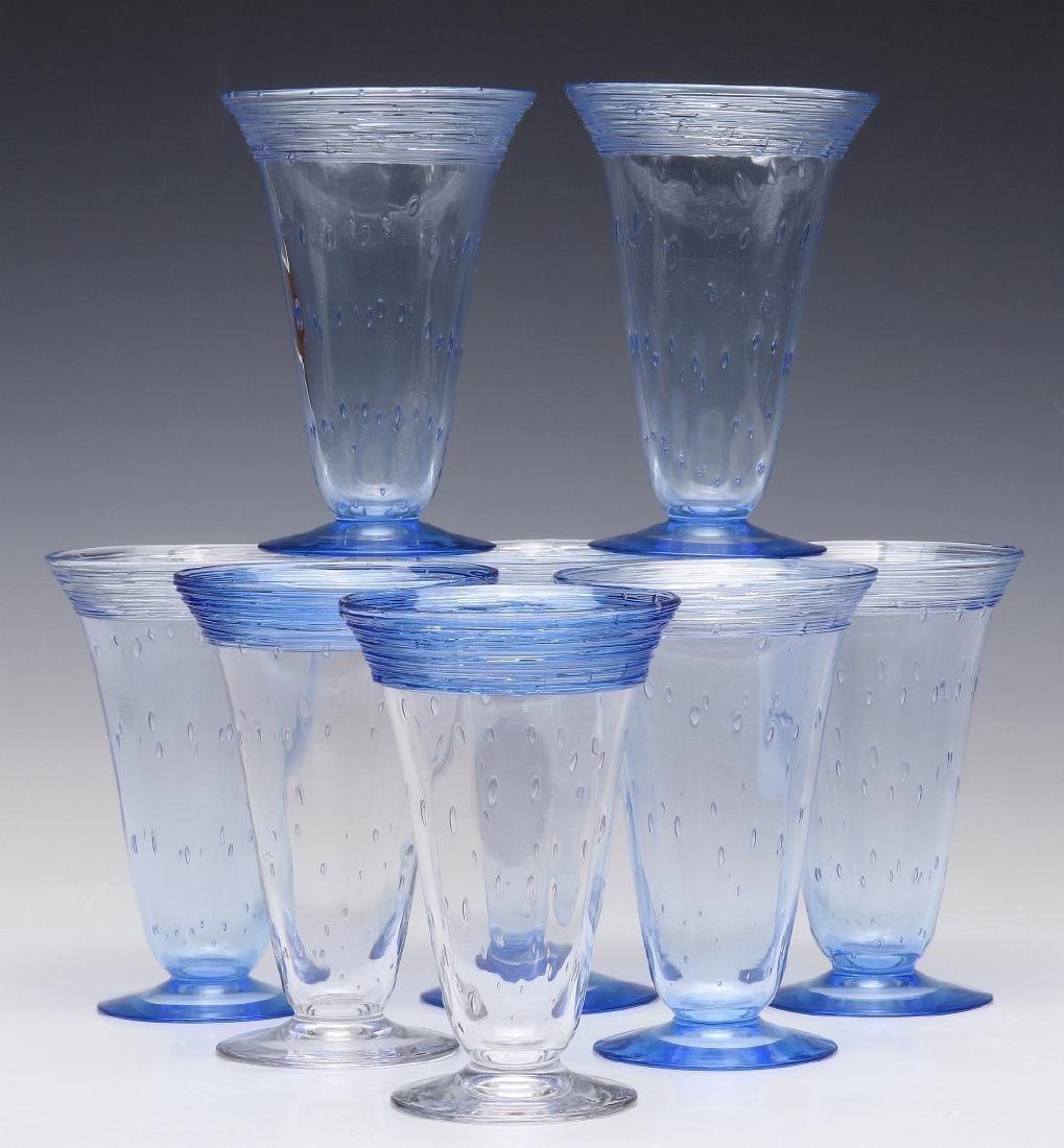 A SET OF STEUBEN ART GLASS PARFAIT GLASSES