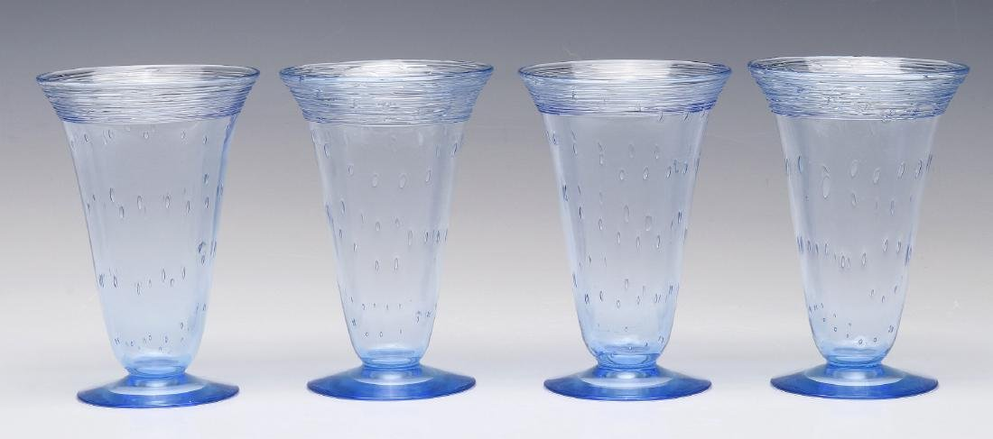 A SET OF STEUBEN ART GLASS PARFAIT GLASSES - 4