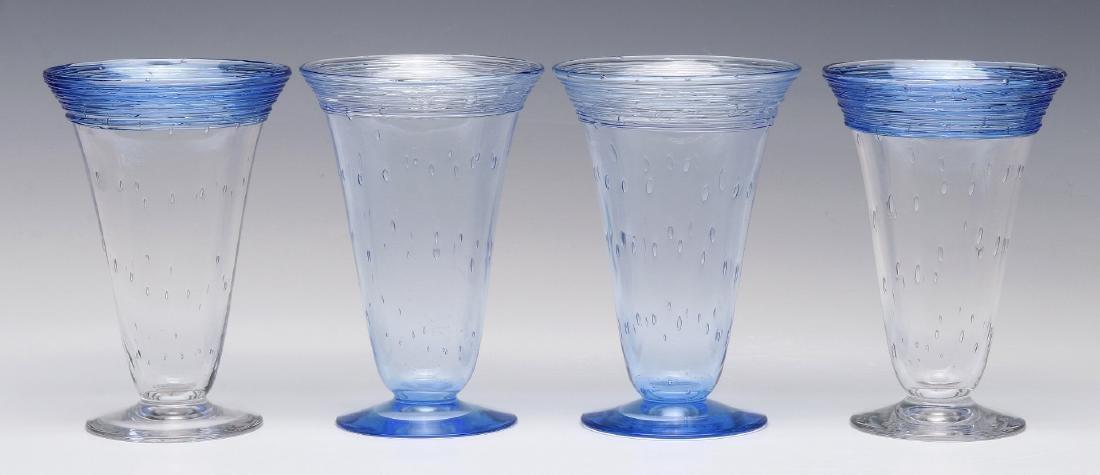 A SET OF STEUBEN ART GLASS PARFAIT GLASSES - 6