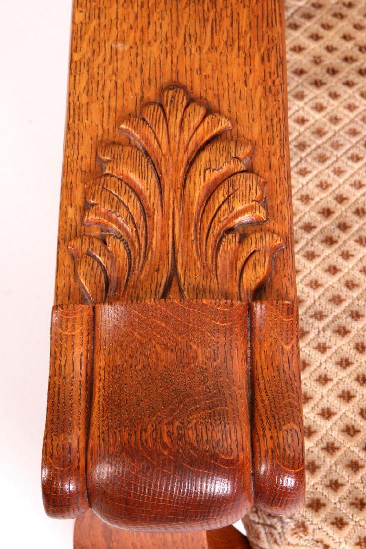 A HEAVY OAK PAW FOOT MORRIS CHAIR CIRCA 1900 - 2