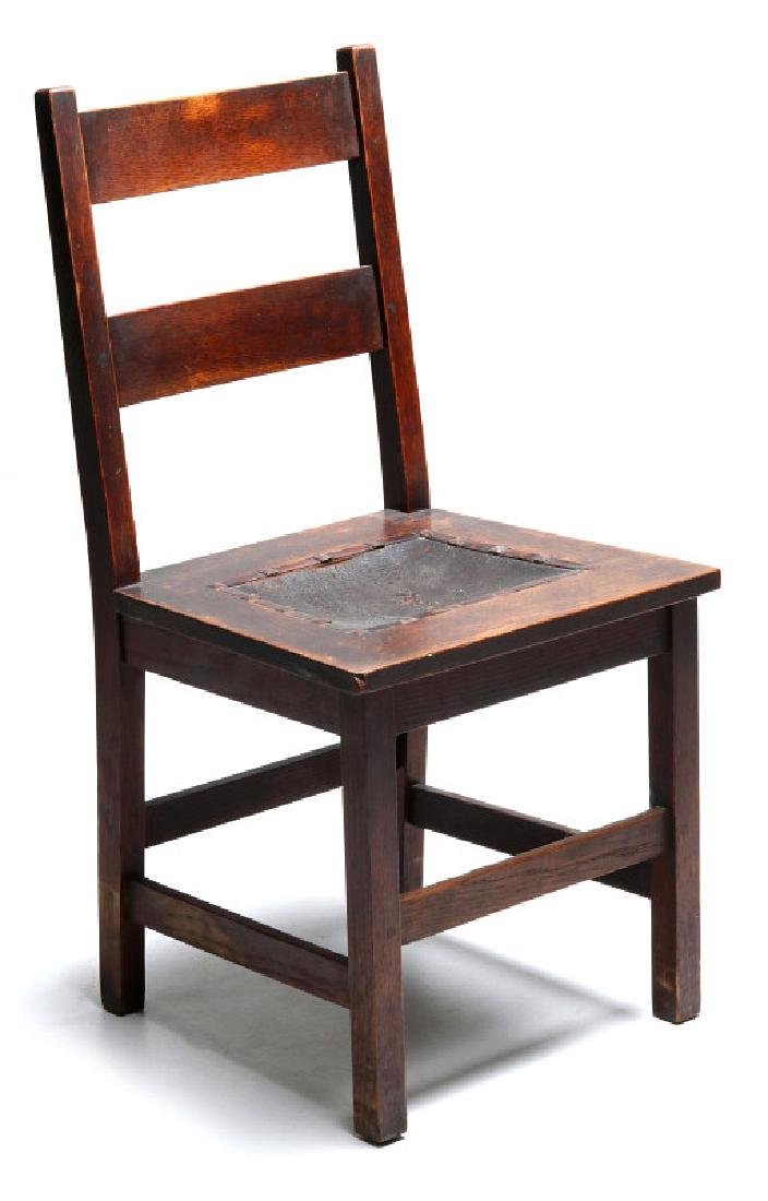 AN OAK ARTS & CRAFTS CHAIR SIGNED GUSTAV STICKLEY