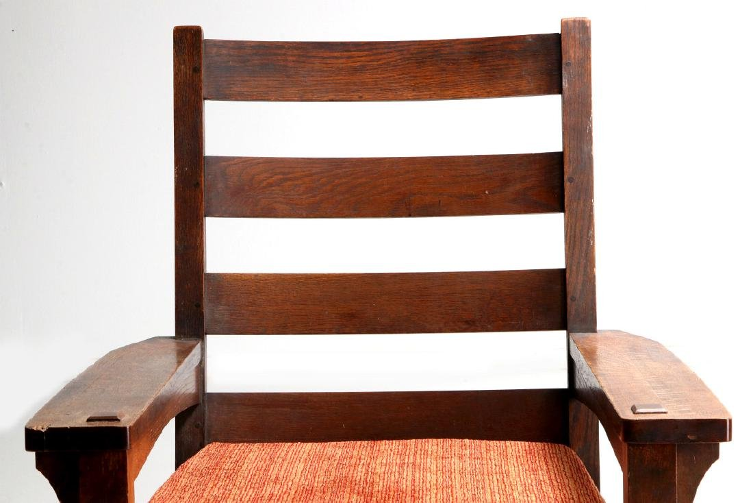 AN OAK ARTS & CRAFTS ROCKING CHAIR SIGNED LIFETIME - 3