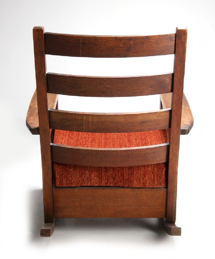 AN OAK ARTS & CRAFTS ROCKING CHAIR SIGNED LIFETIME - 8
