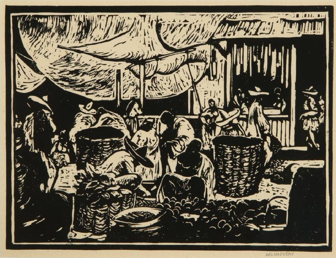 CHARLES WILIMOVSKY (1885-1974) SIGNED WOODBlOCK