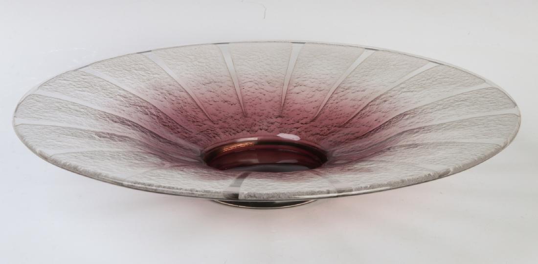 A SCHNEIDER ART DECO TEXTURED GLASS CONSOLE