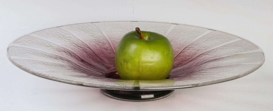 A SCHNEIDER ART DECO TEXTURED GLASS CONSOLE - 4