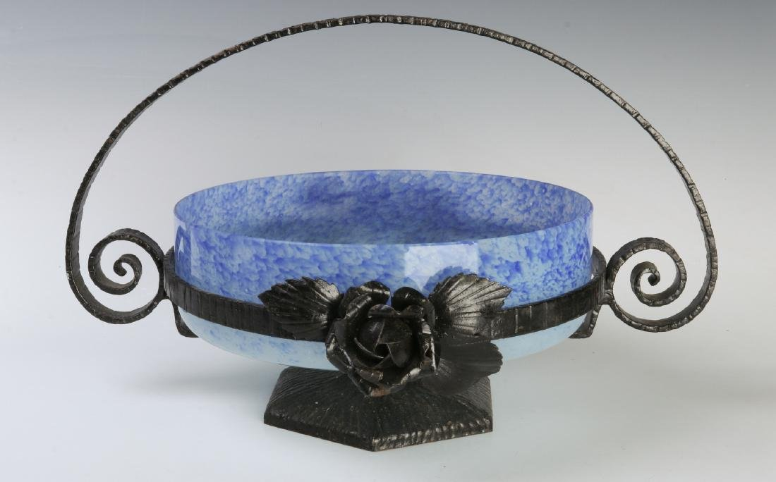 A SCHNEIDER ART DECO ART GLASS CENTERPIECE IN IRON