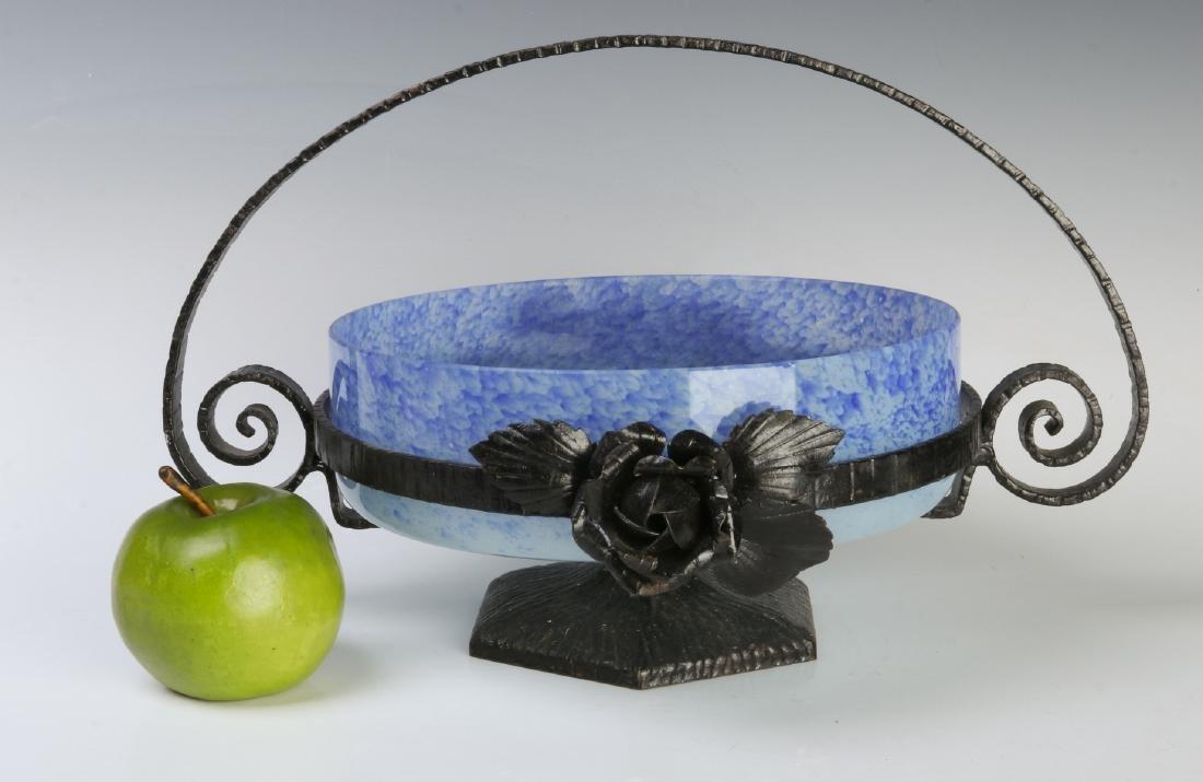 A SCHNEIDER ART DECO ART GLASS CENTERPIECE IN IRON - 8