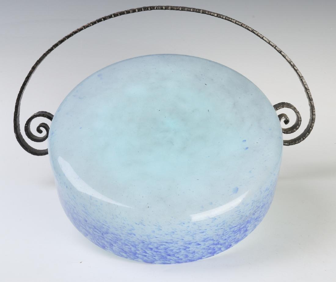 A SCHNEIDER ART DECO ART GLASS CENTERPIECE IN IRON - 9
