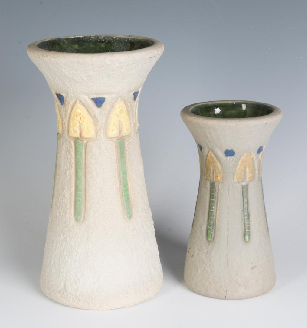 TWO ROSEVILLE 'MOSTIQUE' ART POTTERY VASES