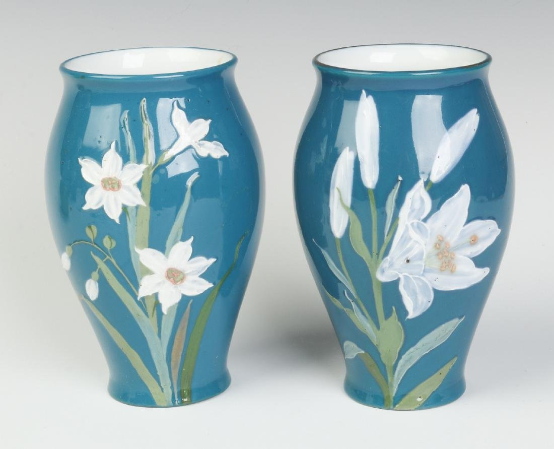 A PAIR OF DECORATED VASES SIGNED 'PATE SUR PATE'