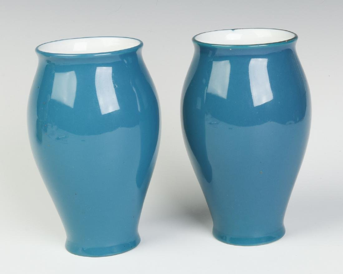 A PAIR OF DECORATED VASES SIGNED 'PATE SUR PATE' - 3