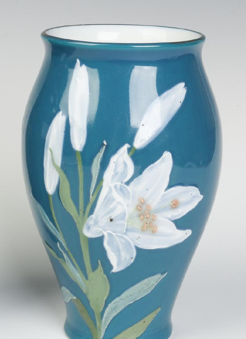 A PAIR OF DECORATED VASES SIGNED 'PATE SUR PATE' - 5