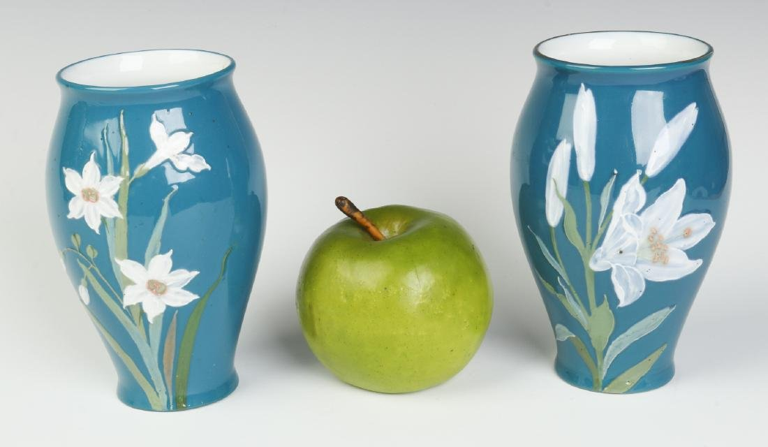 A PAIR OF DECORATED VASES SIGNED 'PATE SUR PATE' - 6