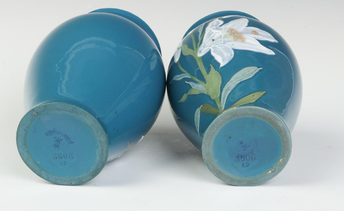 A PAIR OF DECORATED VASES SIGNED 'PATE SUR PATE' - 7