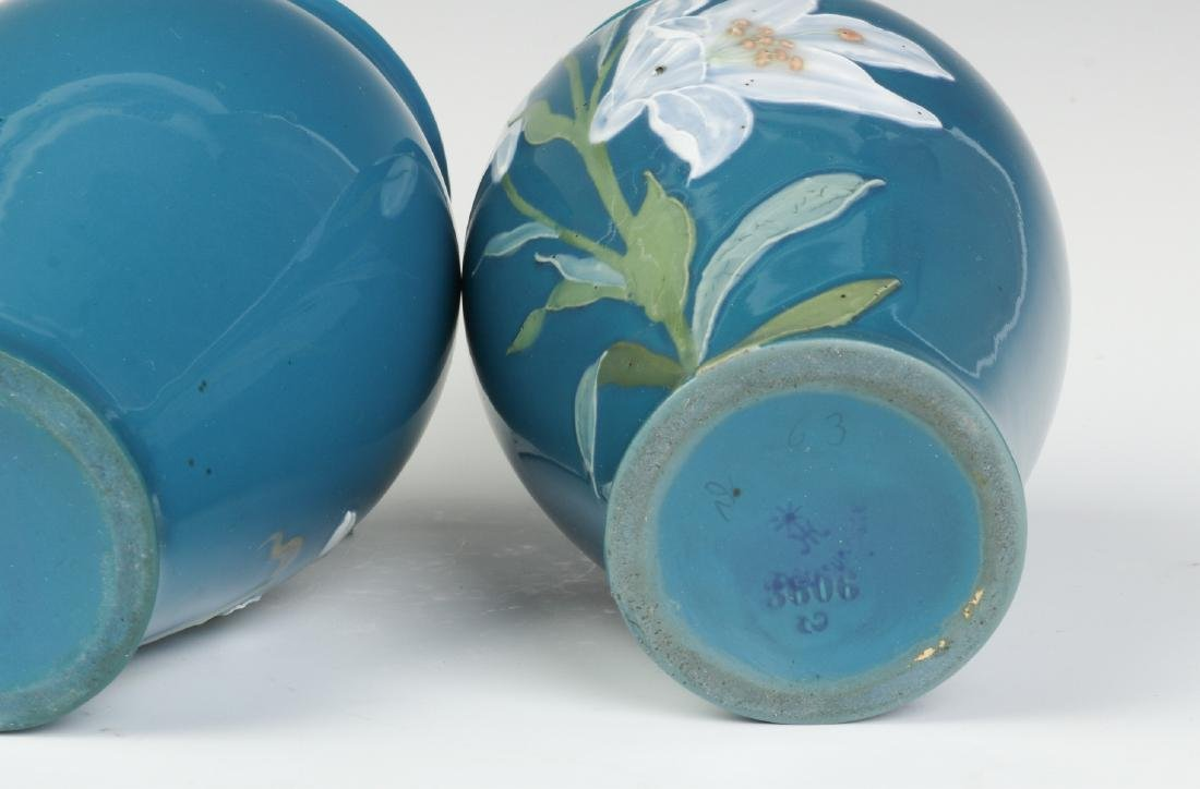 A PAIR OF DECORATED VASES SIGNED 'PATE SUR PATE' - 9