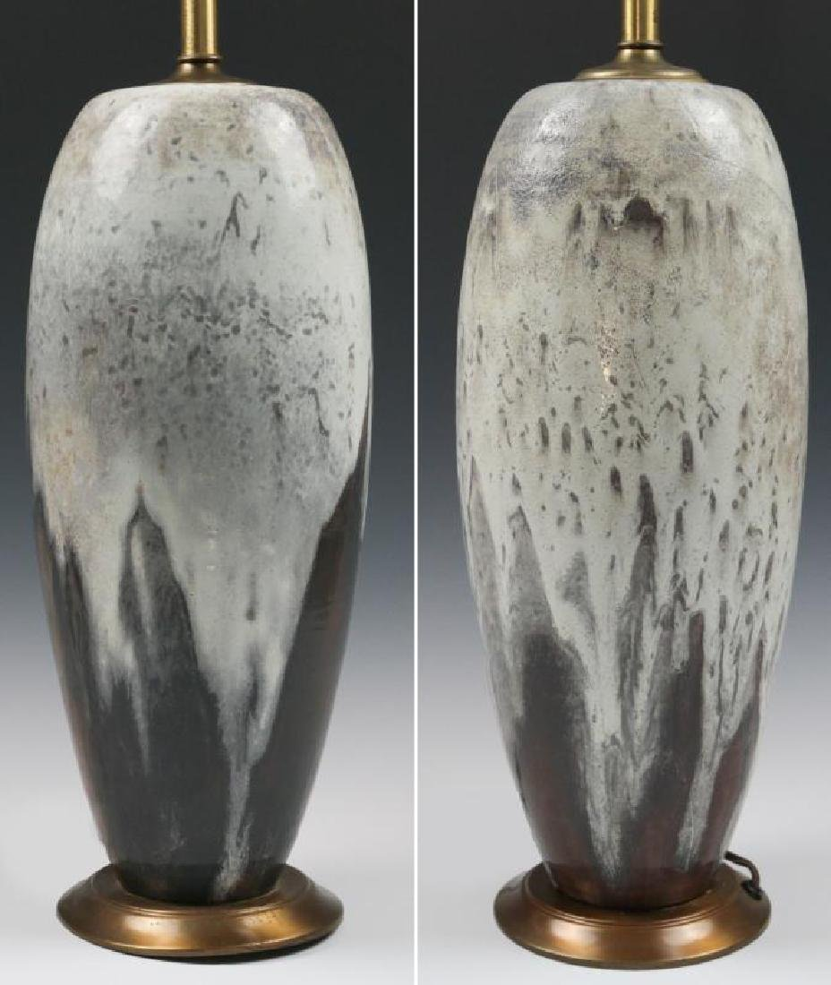 DUTCH ART POTTERY TABLE LAMP PAIR SIGNED MOBACH