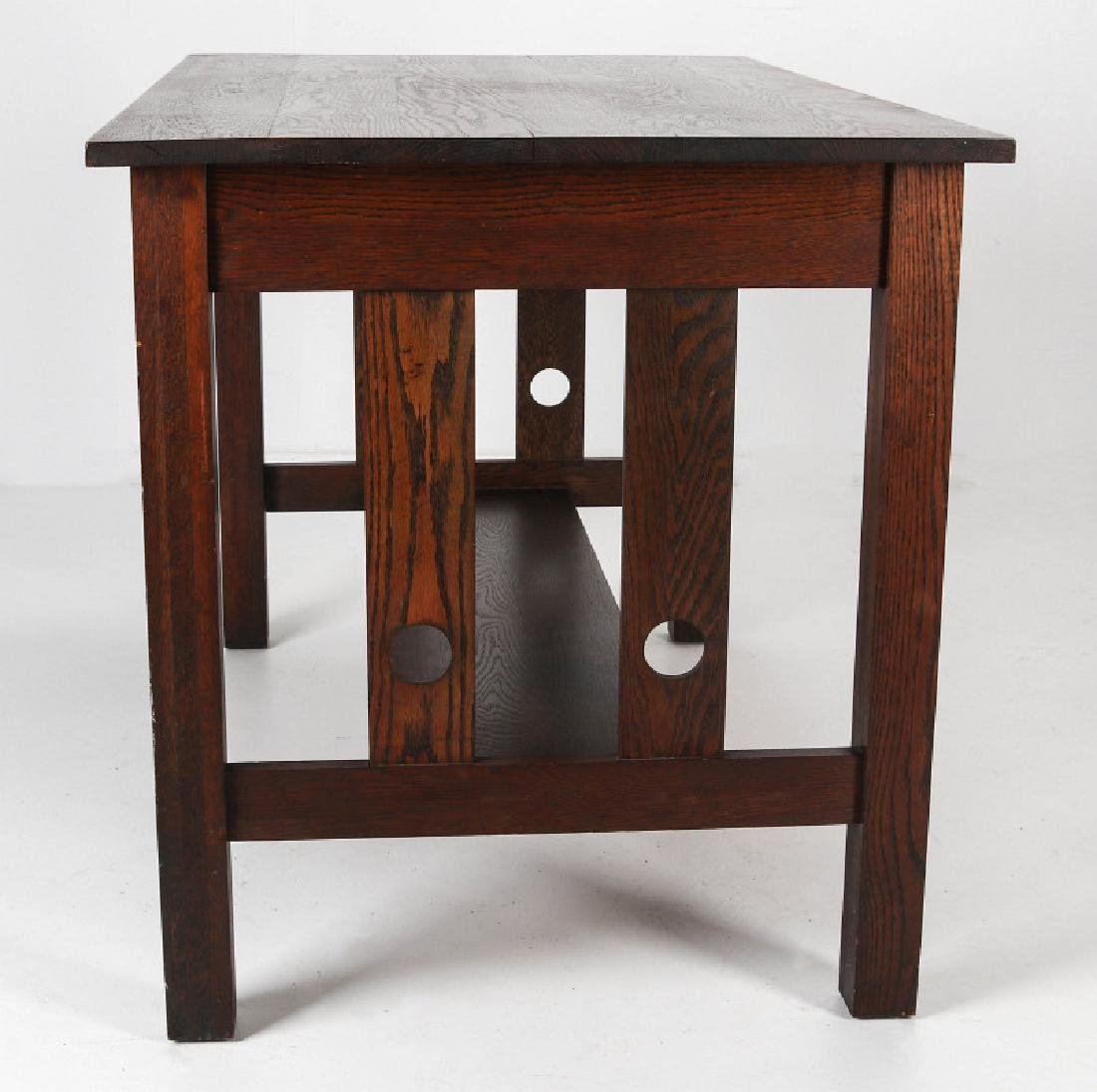 AN OAK ARTS & CRAFTS LIBRARY TABLE CIRCA 1910 - 4