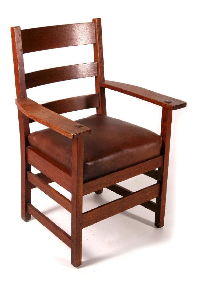 AN ARTS & CRAFTS ARM CHAIR SIGNED L & JG STICKLEY