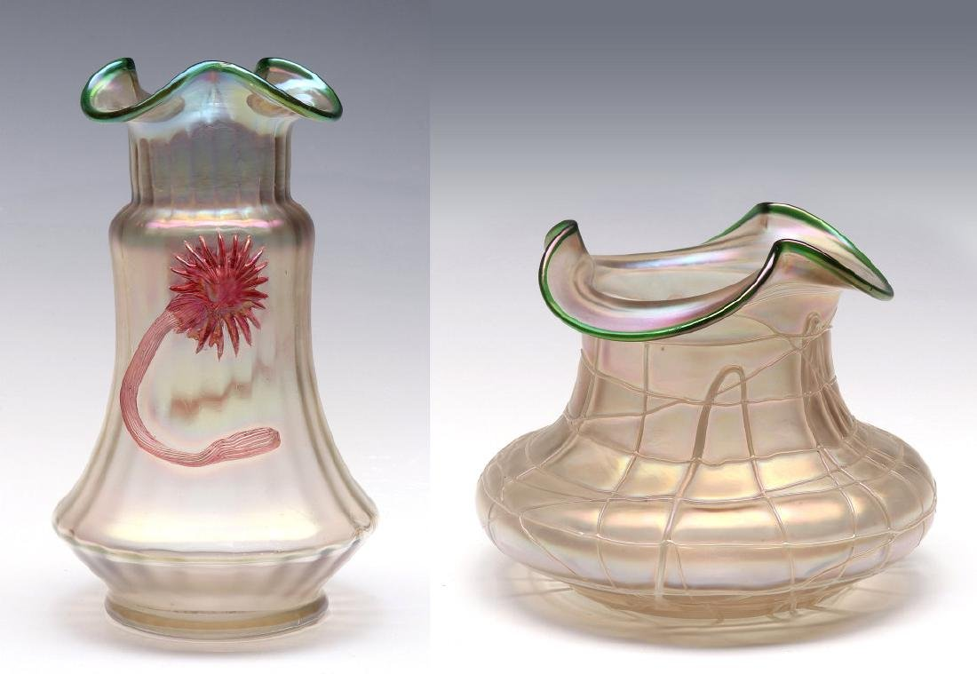 TWO AUSTRIAN ART GLASS VASES ATTRIBUTED TO KRALIK