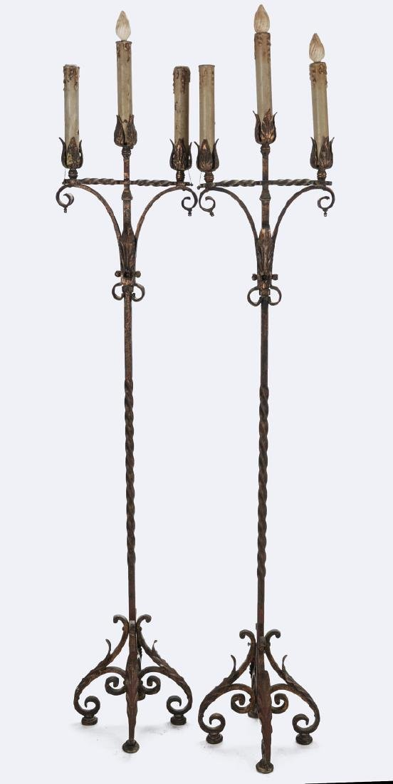 A PAIR EARLY 20TH CENTURY WROUGHT IRON TORCHIERES - 10