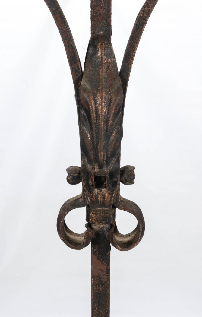A PAIR EARLY 20TH CENTURY WROUGHT IRON TORCHIERES - 3