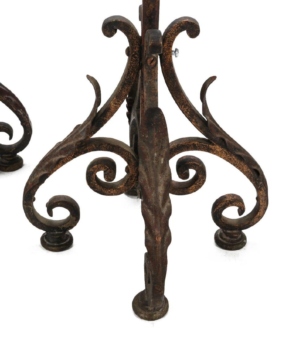 A PAIR EARLY 20TH CENTURY WROUGHT IRON TORCHIERES - 6