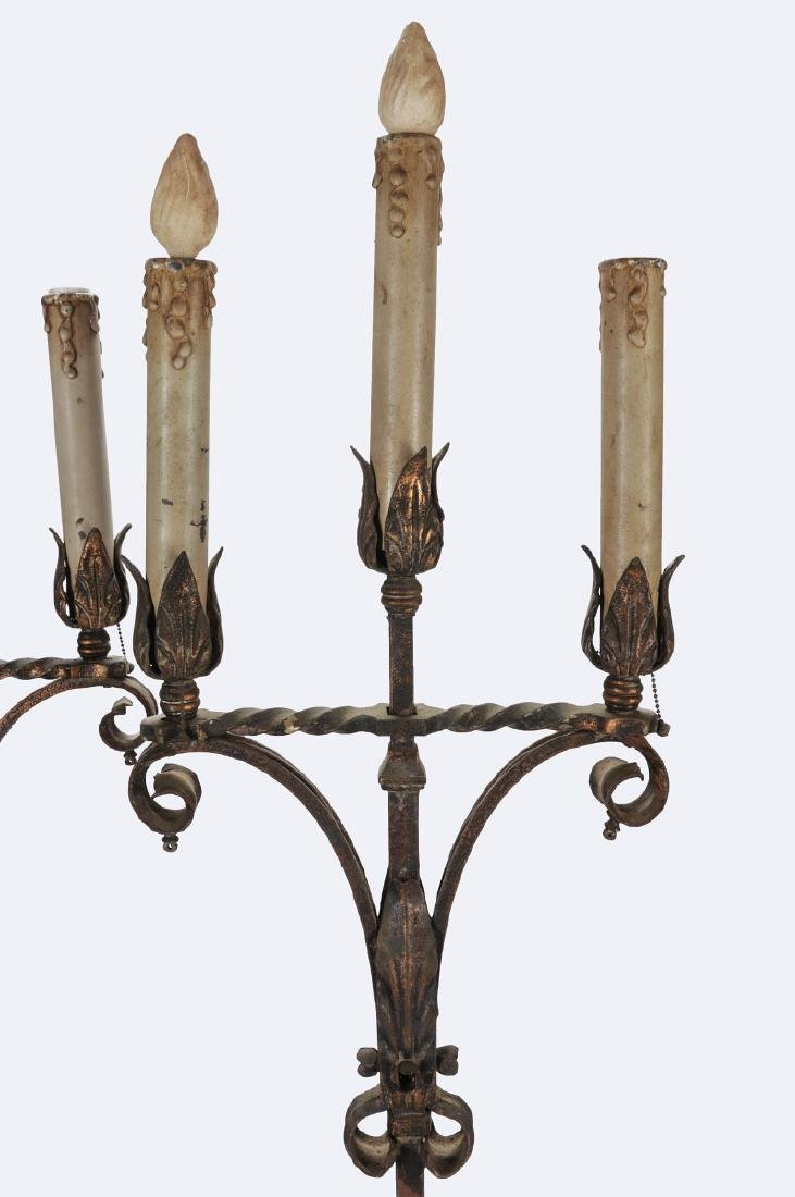 A PAIR EARLY 20TH CENTURY WROUGHT IRON TORCHIERES - 9