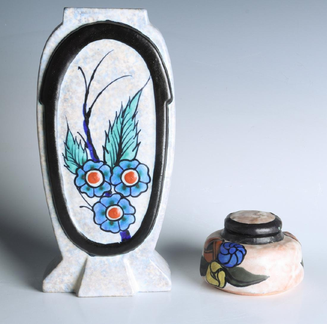 FRENCH ART POTTERY VASE & INKWELL SIGNED DAGE