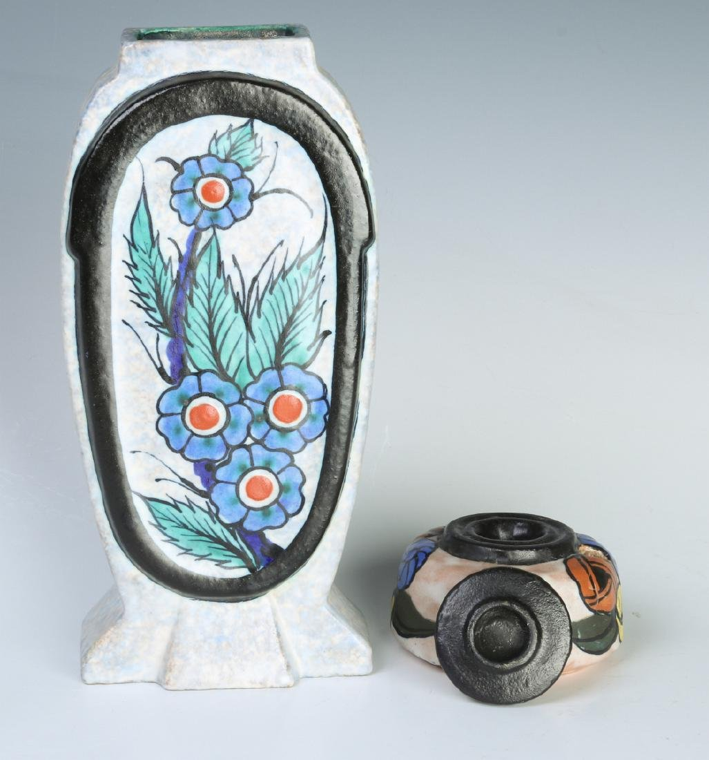 FRENCH ART POTTERY VASE & INKWELL SIGNED DAGE - 7