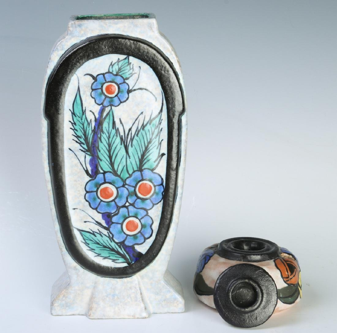 FRENCH ART POTTERY VASE & INKWELL SIGNED DAGE - 9