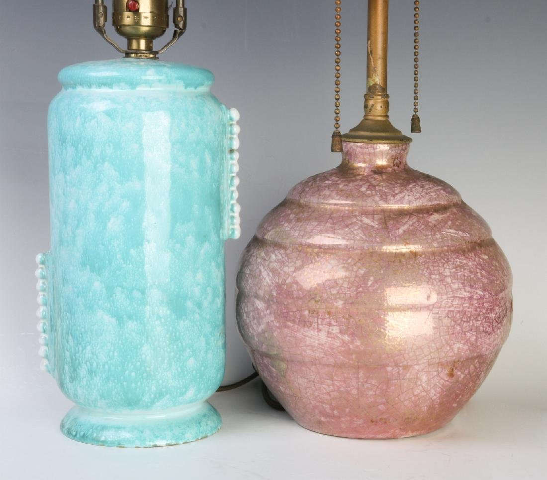 TWO FRENCH ART DECO POTTERY LAMPS