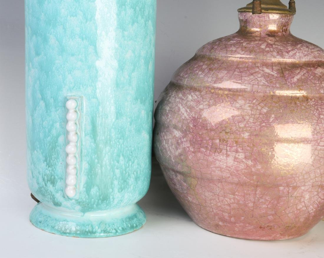 TWO FRENCH ART DECO POTTERY LAMPS - 2