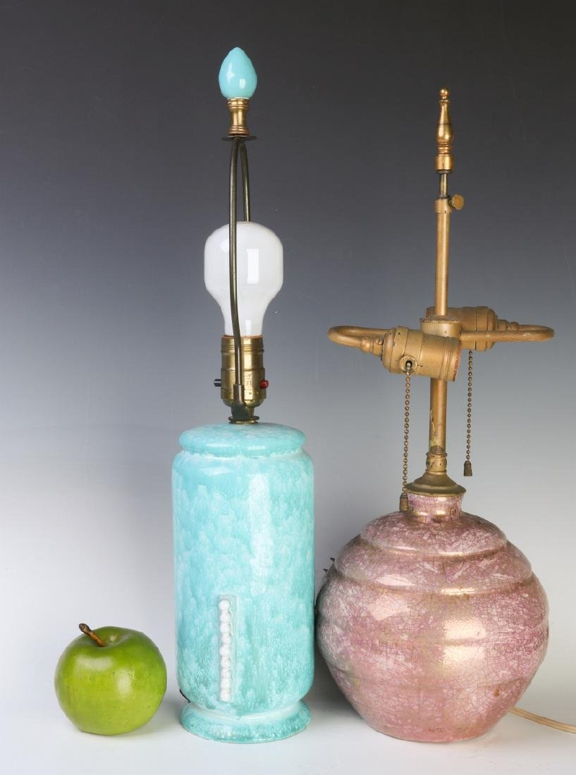 TWO FRENCH ART DECO POTTERY LAMPS - 6