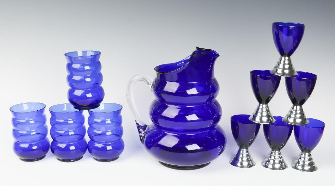 HARPO GLASS SET & CHASE BLUE MOON COCKTAIL CUPS