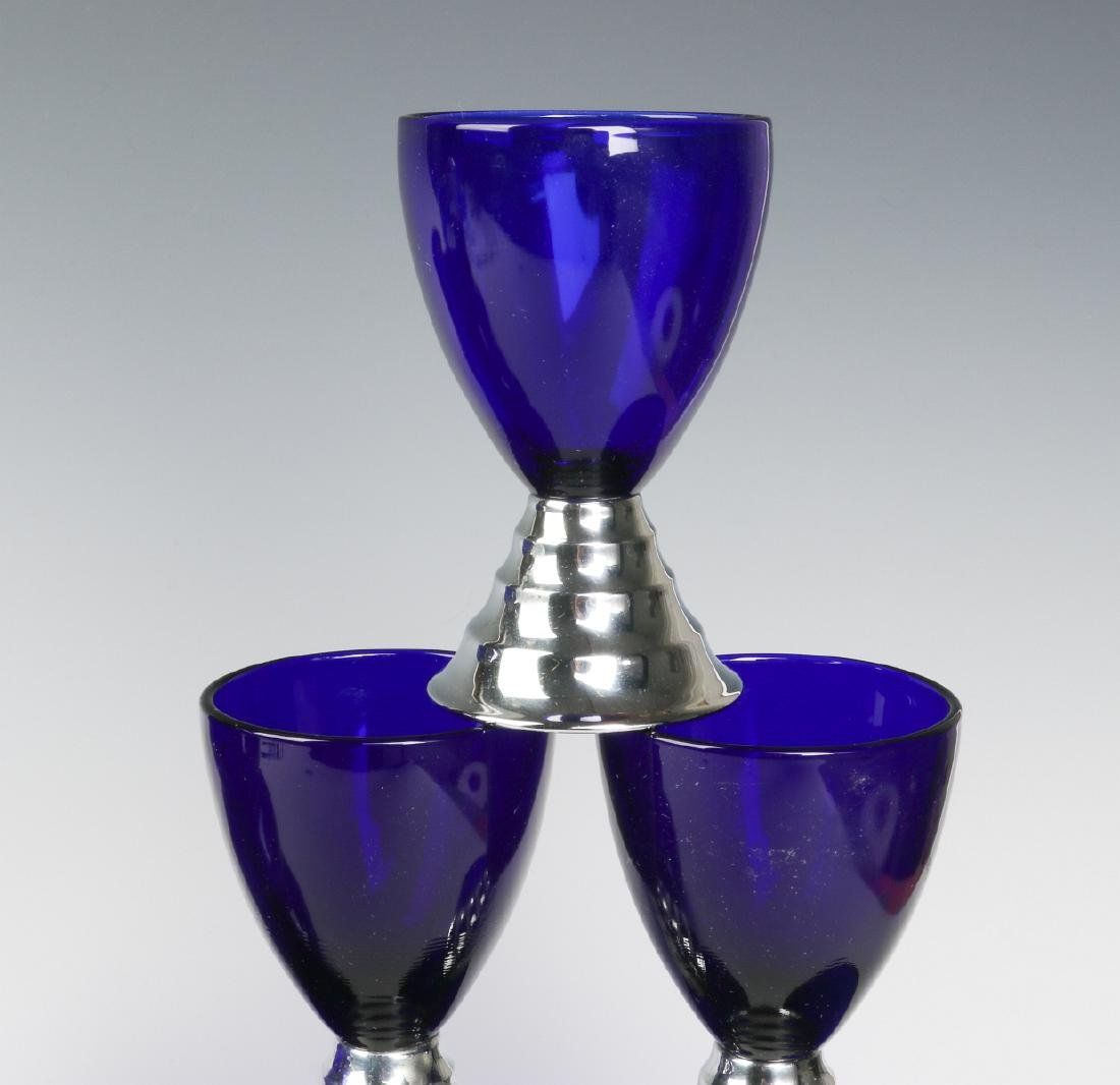 HARPO GLASS SET & CHASE BLUE MOON COCKTAIL CUPS - 4