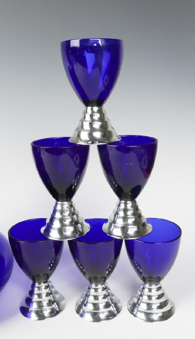 HARPO GLASS SET & CHASE BLUE MOON COCKTAIL CUPS - 5