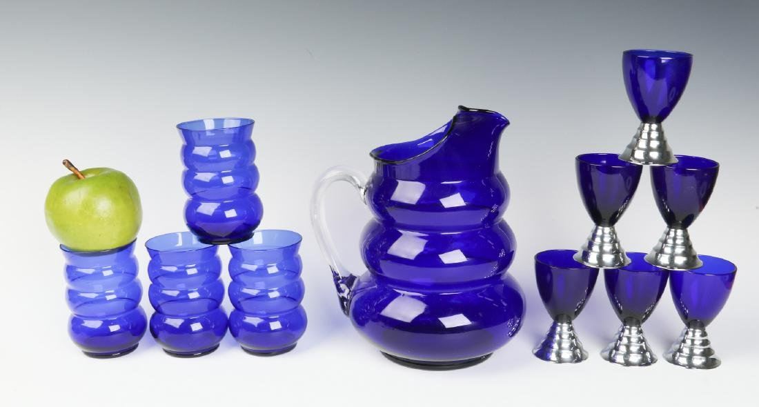 HARPO GLASS SET & CHASE BLUE MOON COCKTAIL CUPS - 6
