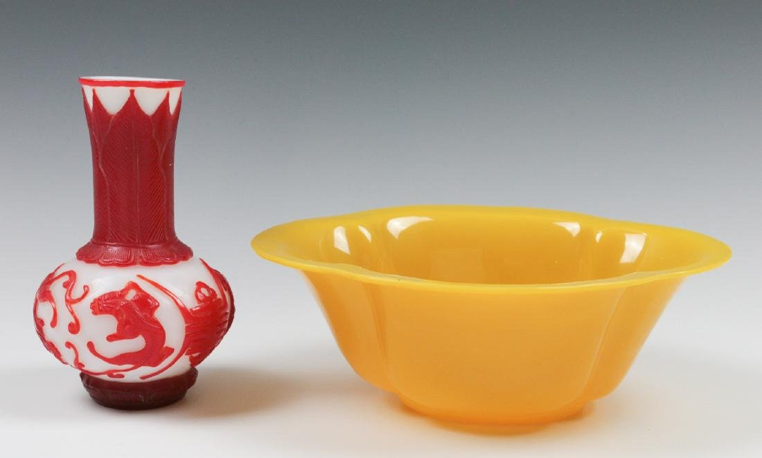 TWO CARVED PEKING GLASS OBJECTS
