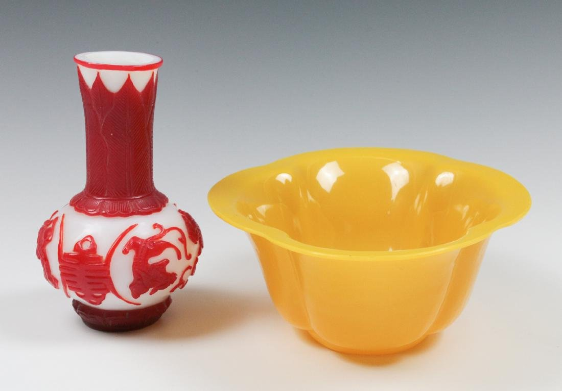 TWO CARVED PEKING GLASS OBJECTS - 3