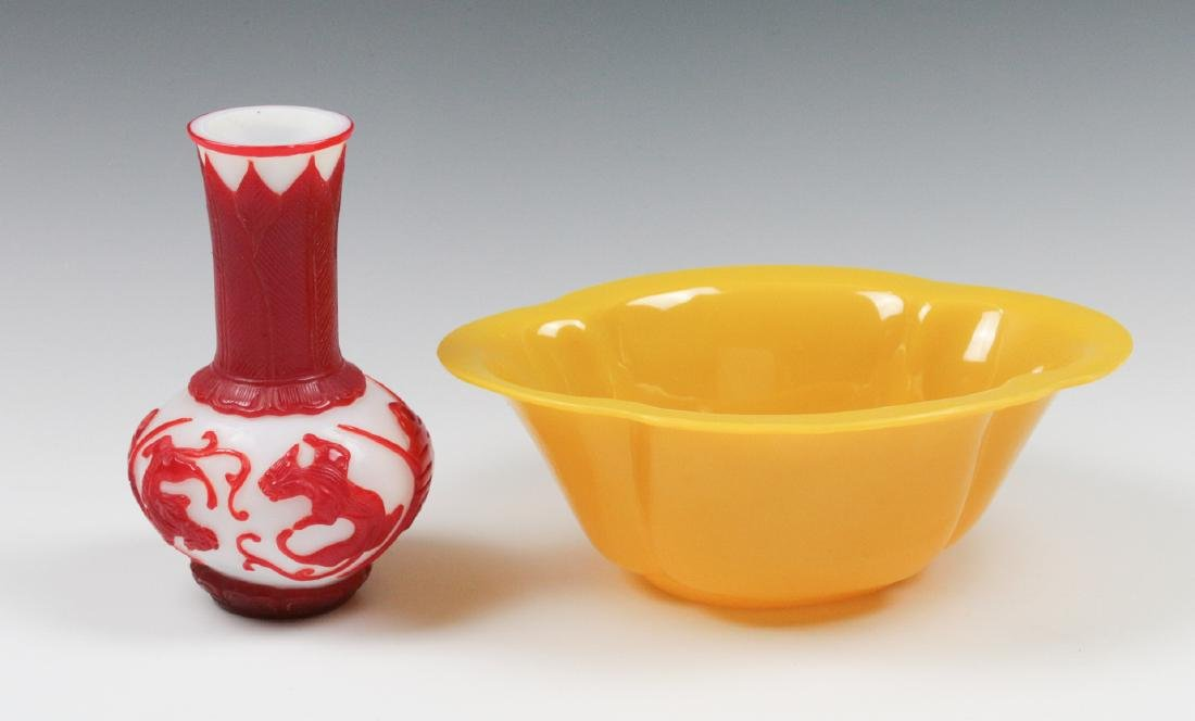 TWO CARVED PEKING GLASS OBJECTS - 4