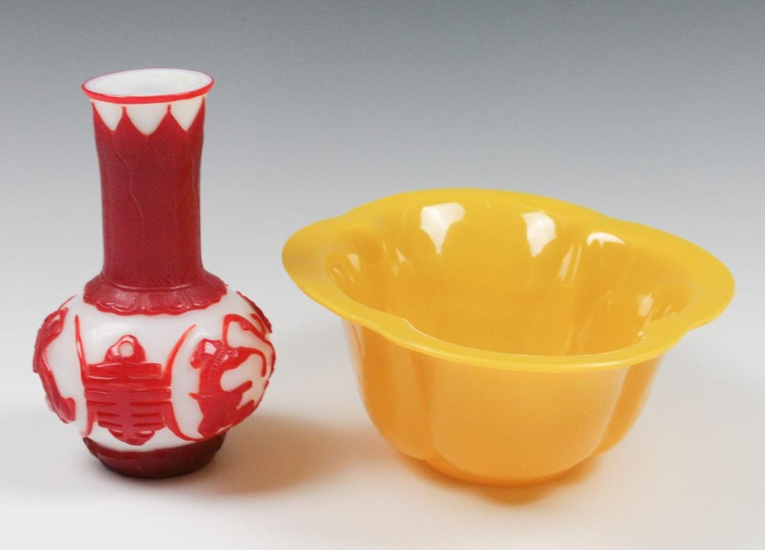 TWO CARVED PEKING GLASS OBJECTS - 5