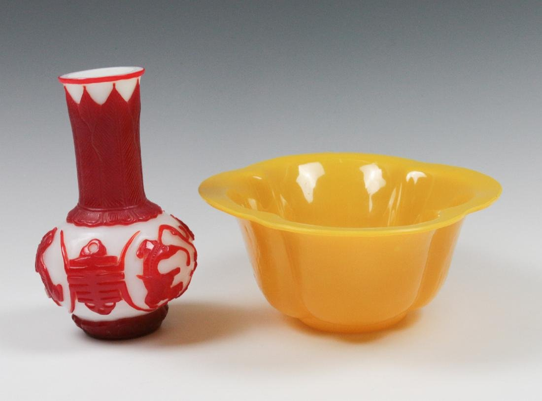 TWO CARVED PEKING GLASS OBJECTS - 6