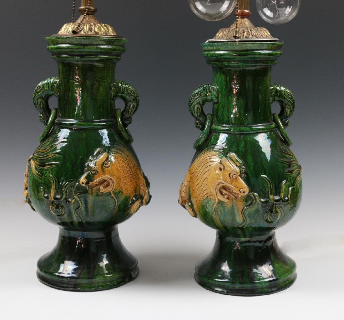 PAIR LARGE JAPANESE AWAJI POTTERY VASES, AS LAMPS