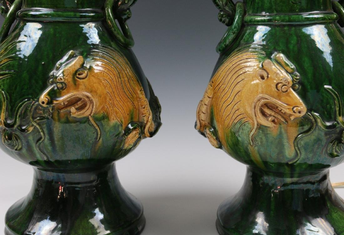 PAIR LARGE JAPANESE AWAJI POTTERY VASES, AS LAMPS - 2