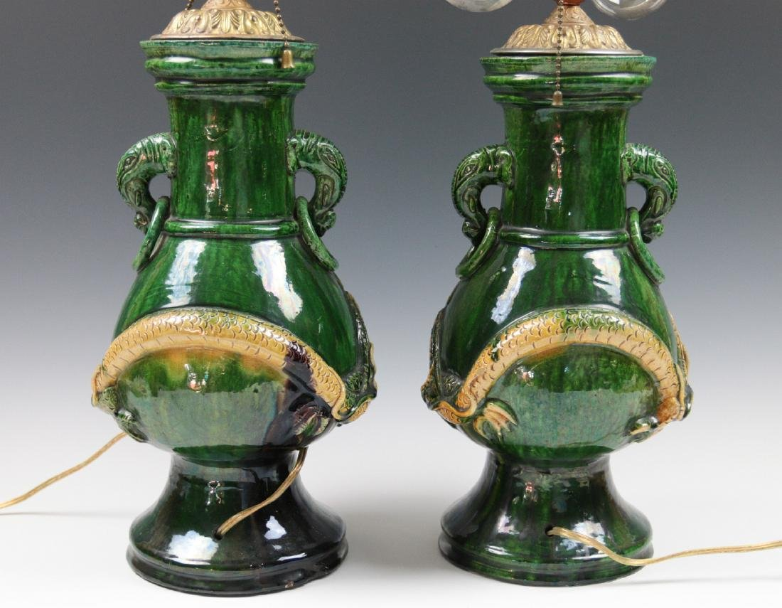 PAIR LARGE JAPANESE AWAJI POTTERY VASES, AS LAMPS - 9