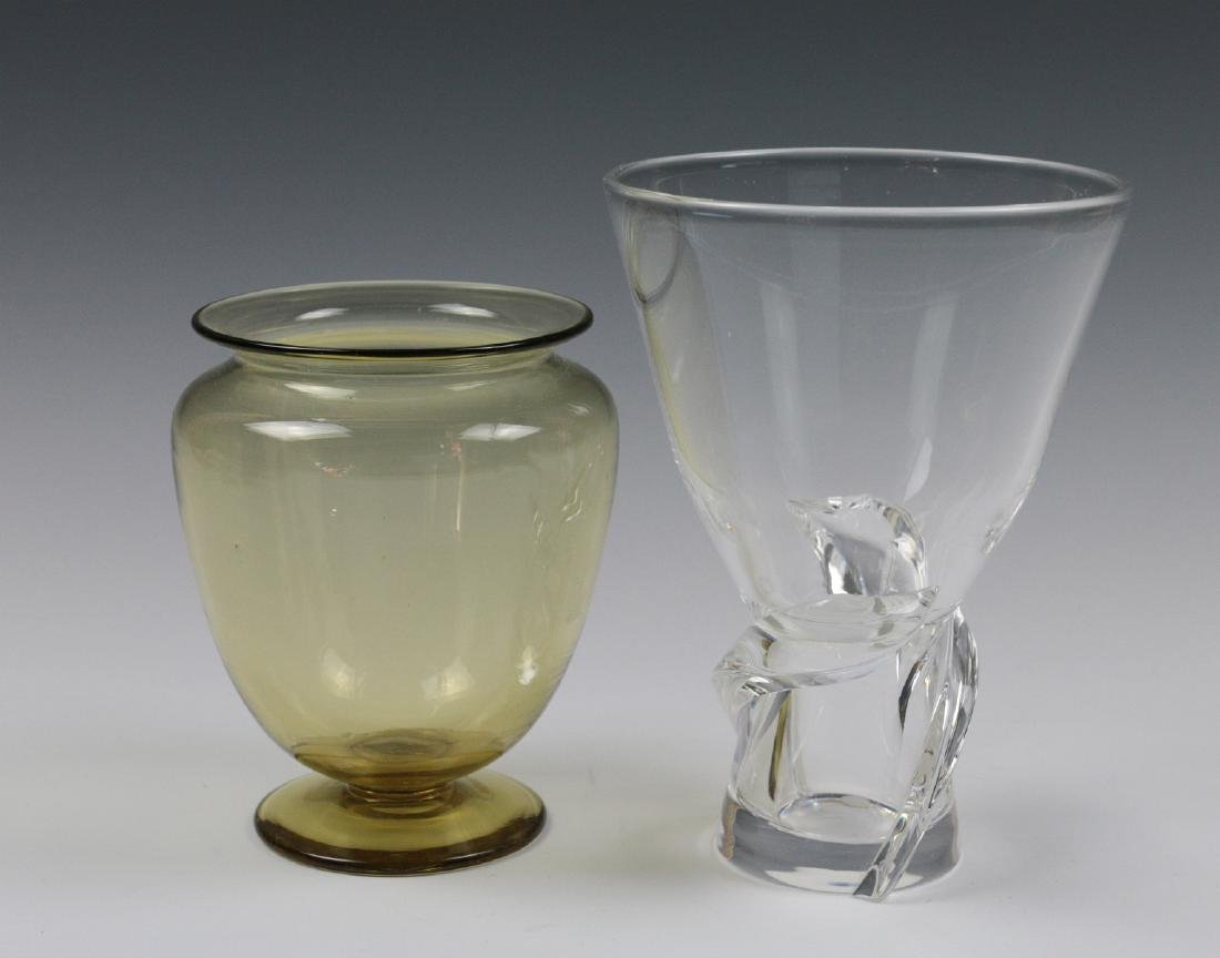 STEUBEN AMBER AND COLORLESS CRYSTAL VASES