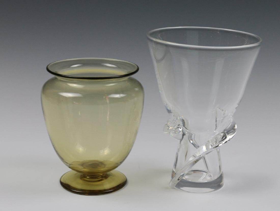 STEUBEN AMBER AND COLORLESS CRYSTAL VASES - 2