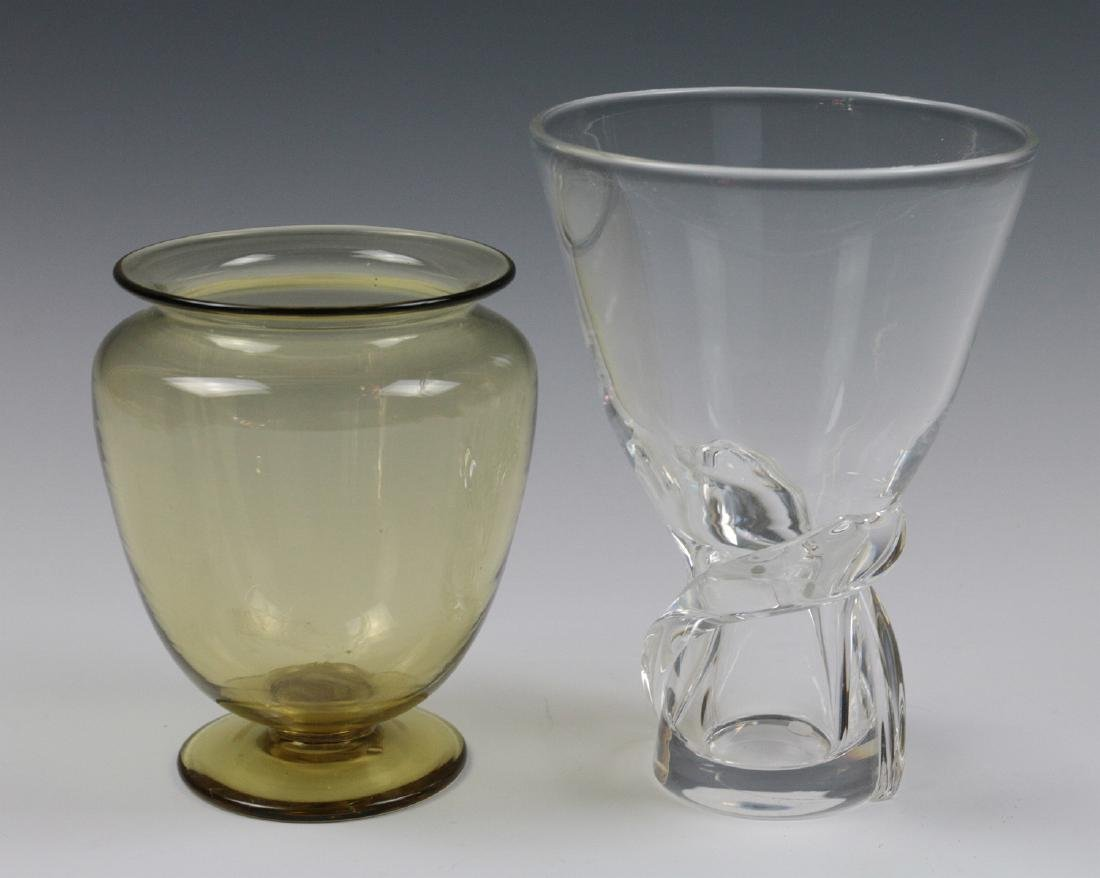 STEUBEN AMBER AND COLORLESS CRYSTAL VASES - 3