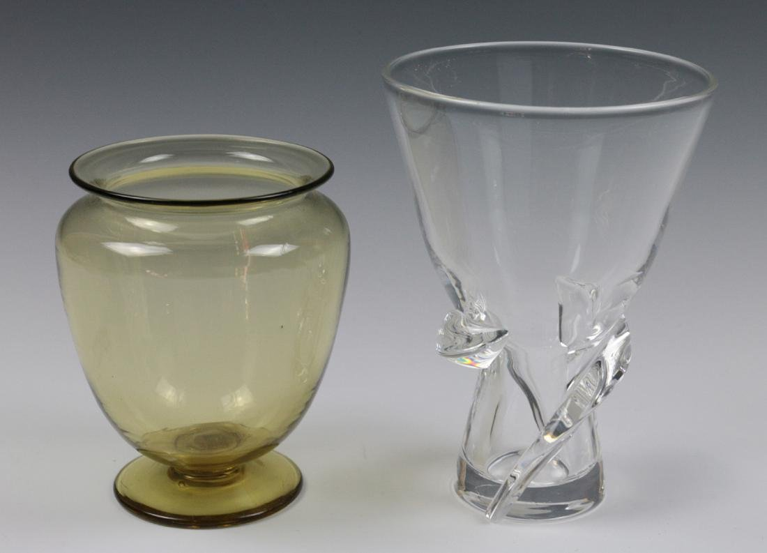 STEUBEN AMBER AND COLORLESS CRYSTAL VASES - 4